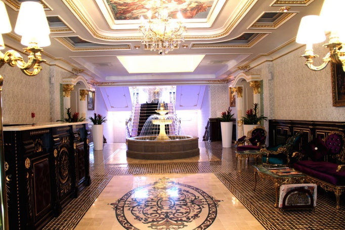 lobby in hotel nabat palace, moscow