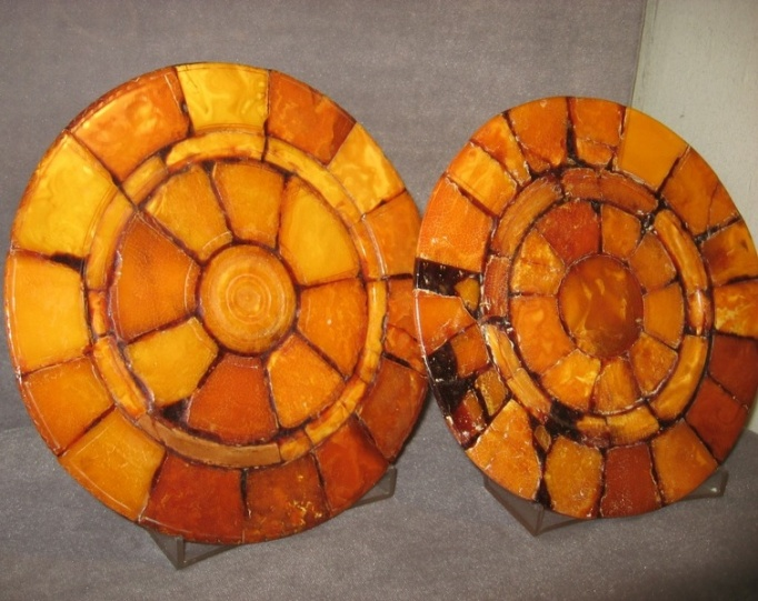 amber plates at amber museum kaliningrad russia