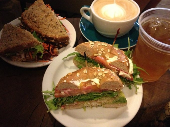 coffee and sandwiches